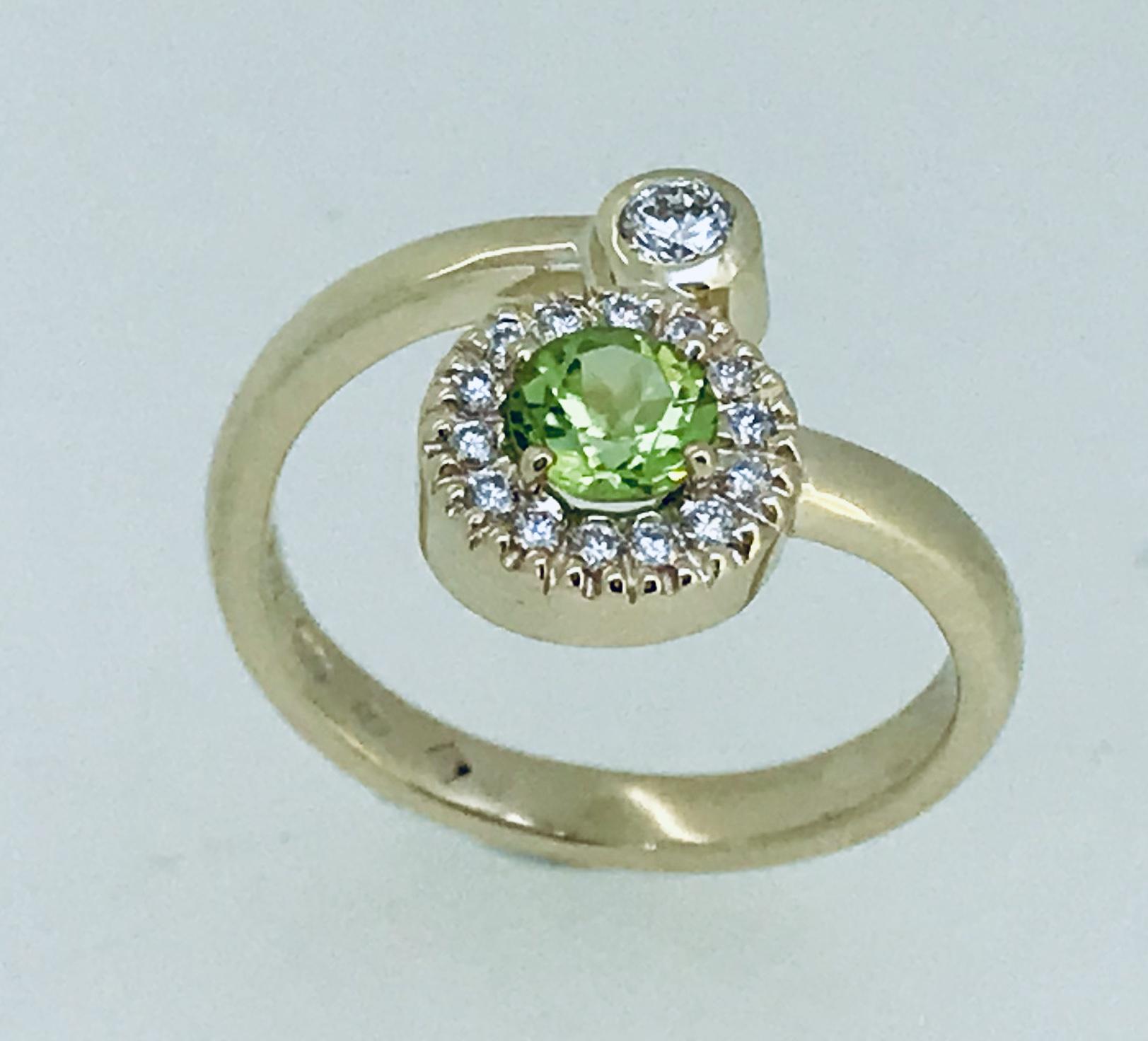 Peridot and Diamond August Birthstone Ring